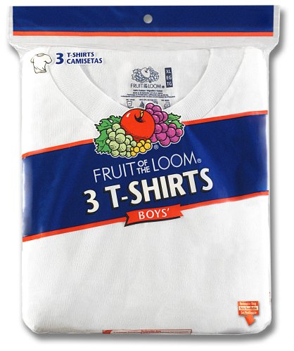 (Fruit of the Loom Boys Crew Neck T-Shirt 3 Pack (525B) XL (YOUTH)/White)