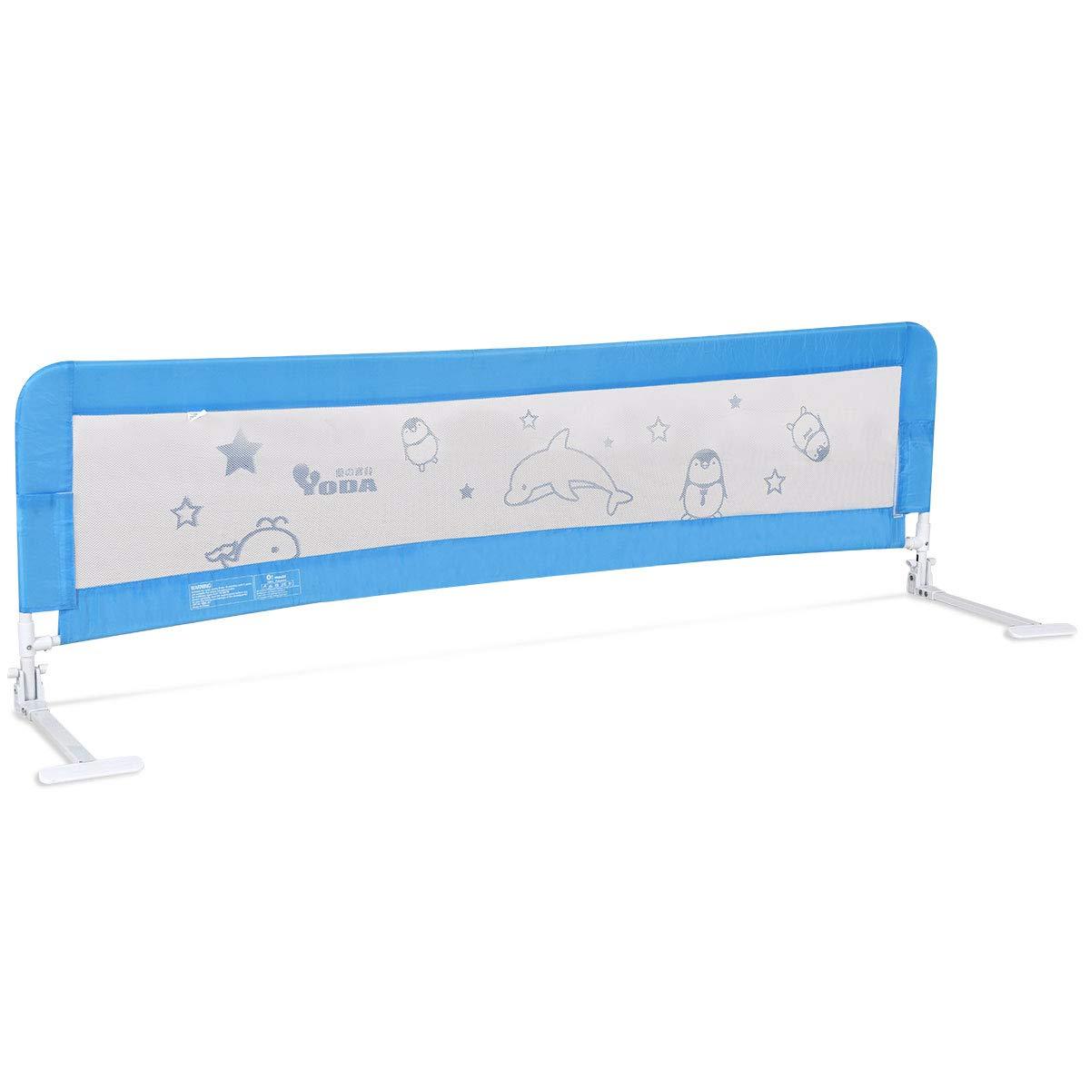 GOPLUS Barriera per letto Sponda sicurezza da letto Paracolpi lettino Protezione letto ribaltabile 180cm (Blu)