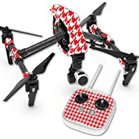 Skin For DJI Inspire 1 Quadcopter Drone – Red Houndstooth | MightySkins Protective, Durable, and Unique Vinyl Decal wrap cover | Easy To Apply, Remove, and Change Styles | Made in the USA