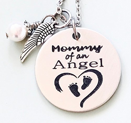 Mommy of an Angel Engraved Memorial Necklace with Simulated Pearl by Dots of Sugar - Sugar Angel
