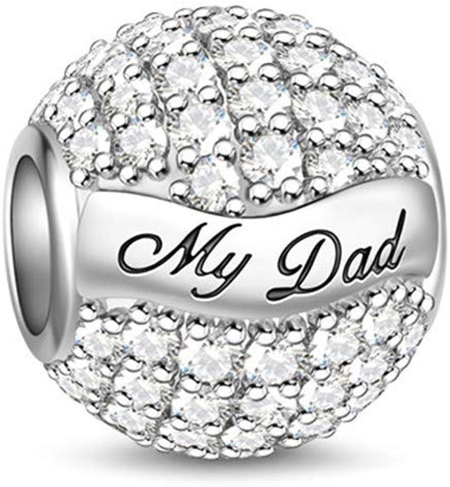 GNOCE Abalorio de plata de ley 925 para pulsera y collar, ideal como regalo para madre y padre