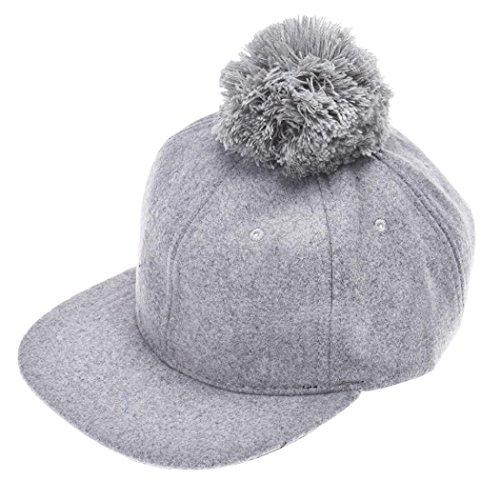 Black Children Kids Boys Girls Baseball Hat Hip-hop Cap Winter Hat with Big Ball