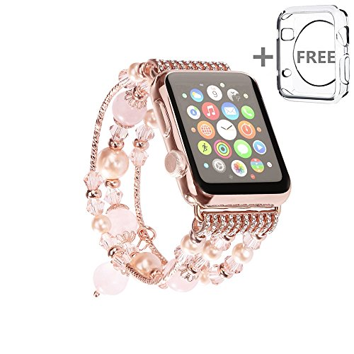 Apple Watch Band, Solomo [Jewel Series] Luxury Handmade Elastic Stretch Faux Agate and Crystal Bracelet Replacement with Women / Girls Wristband for A…