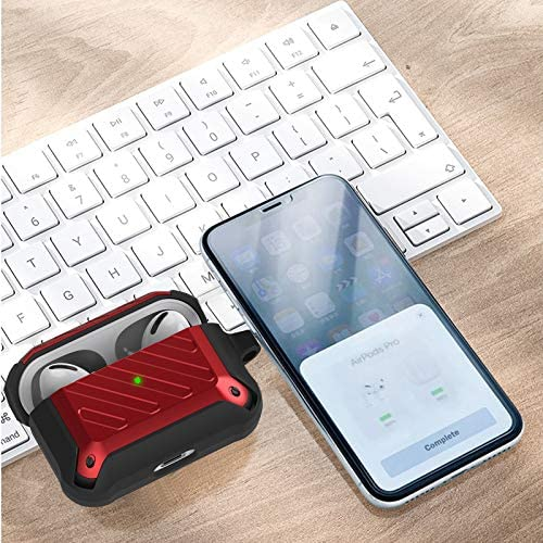 Maxjoy Airpods Pro Case Cover TPU Full-Body Protective Case Cover with Carabiner Armor Series Case for Apple Airpods 3 Shockproof AirPods Pro Wireless Charging Case Front Led Visible (Red)