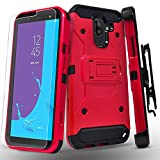 Starshop Full Cover Dual Layers Phone Case Compatible for Samsung Galaxy J8 2018, With [Tempered Glass Screen Protector Included] And Kickstand and Locking Belt Clip-Red