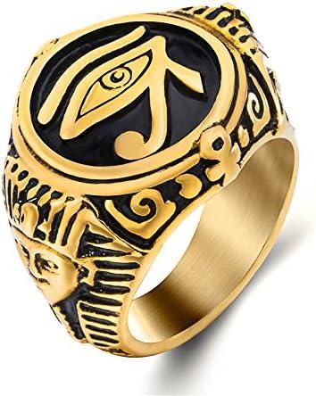 Hombres Elfasio 316L Acero Inoxidable egipcio Ojo De Horus//ra tema Anillo-Unisex