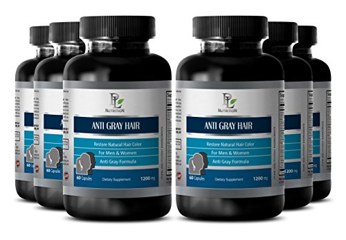 Eliminate grey hair - ANTI GRAY HAIR NATURAL COMPLEX 1200mg - Barley grass juice powder pills - 6 Bottles 360 Capsules by PL NUTRITION