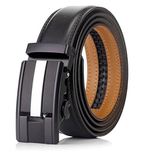 [OKOKO men's Ratchet buckle genuine leather belt 35MM width (S: up to 38