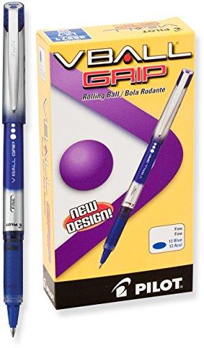 Pilot VBall Grip Liquid Ink Rolling Ball Pens, Fine Point, Blue Ink, Dozen Box (35571)