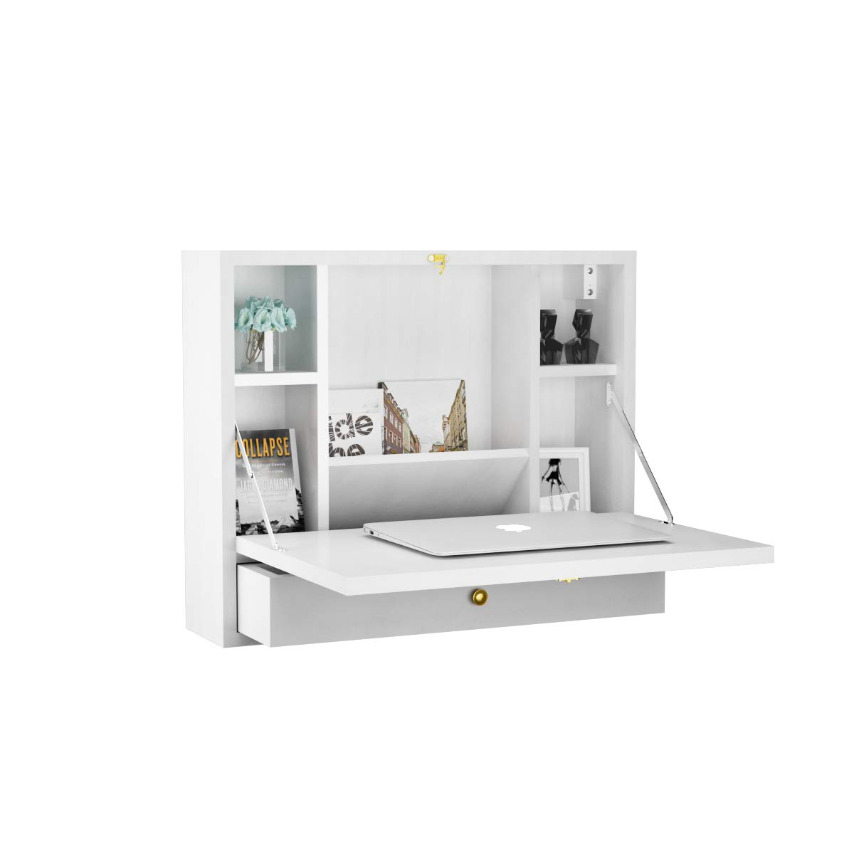 TANGKULA Wall Mounted Table Multi-Function Wall Mount Laptop Desk Writing Desk Home Office Computer Desk with Large Storage Area, Wall Desk (White) by Tangkula (Image #1)