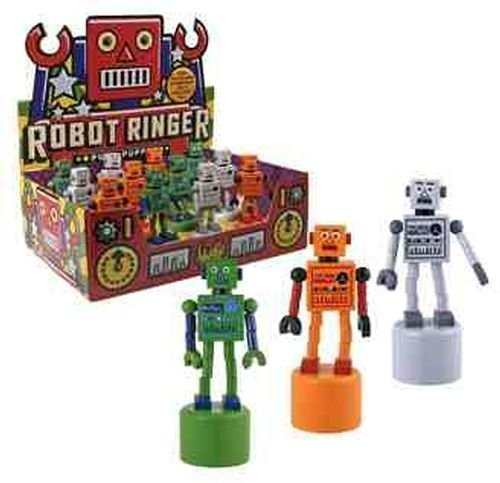 (Robot Finger Push Puppets Classic Wooden Toy - Colors May Vary)