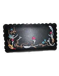 Fashion Flower Embroidery Wallet Designer Floral Print. (Black)