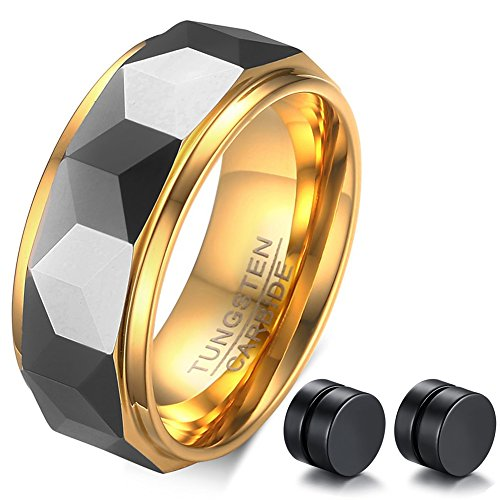 ABLES CHIC Gold Tungsten Carbide Faceted Wedding Band Ring Diamond Cut Engagement Gift 8mm Earrings Set