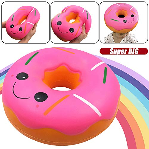Hot  Scented Squishy Toys, Fruit Scented Charming Slow Rising Squishy for Kid Toy, Stress Relief Toy, Decorations Toy Gift Fun Jumbo Giant Doughnut (A) ()