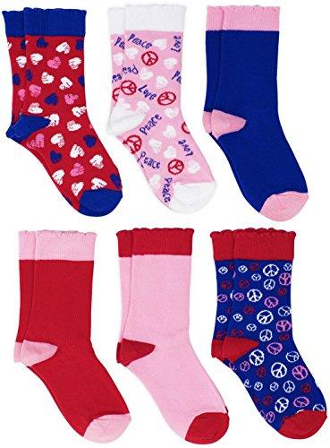 Lucky & Me Sonya Girls Socks, 6 Pairs, Combed Cotton, Crew Length