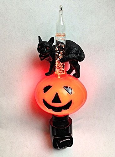 Halloween Jack O'Lantern And Black Cat Bubble Light Night Light]()