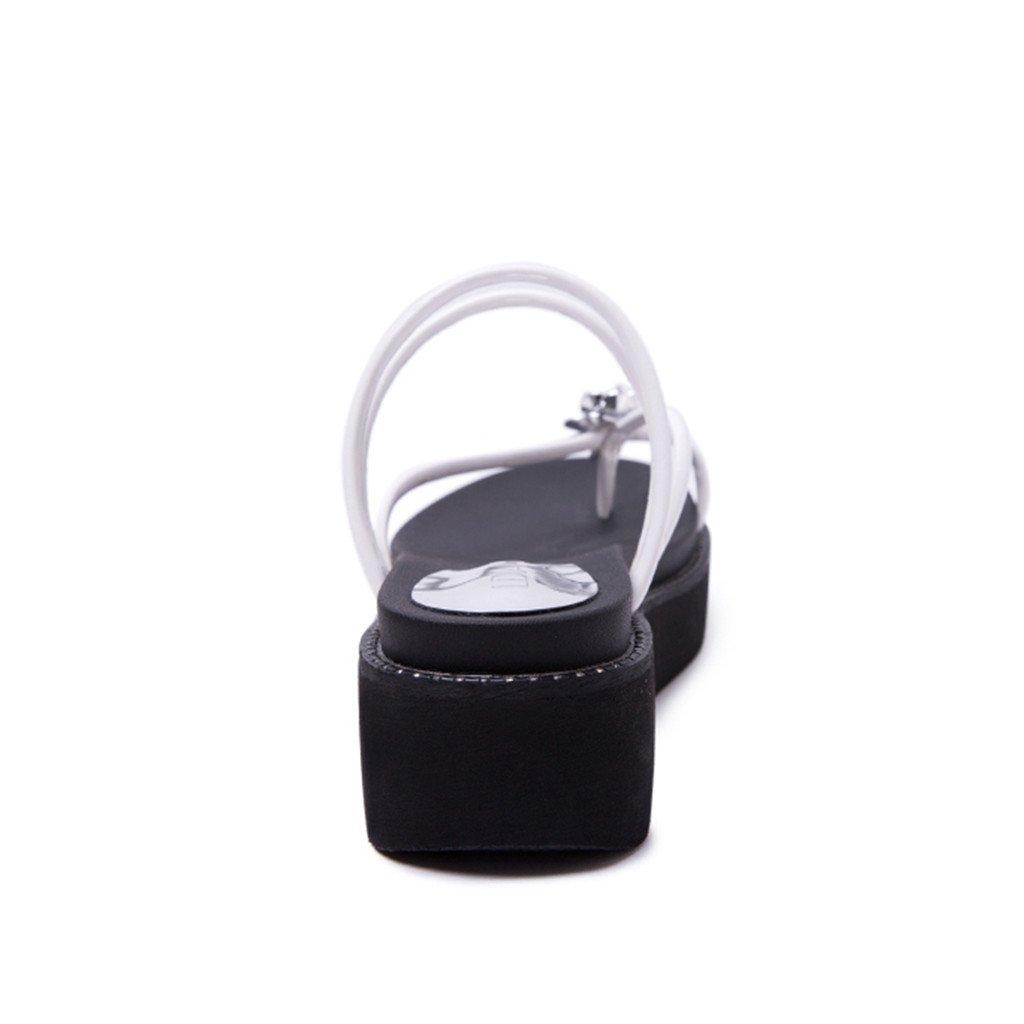 LIXIONG Weibliche Sommerkühle Pantoffelart und weise weise weise Dicke untere Flipflops Rhinestones 18-40 Jahre alt Modeschuhe (Farbe   Weiß größe   EU39 UK6 CN39) bc6bbb