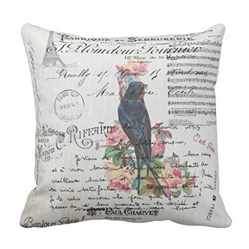 (Romantic French Victorian Tree Bird Love Letters Throw Pillow Case)