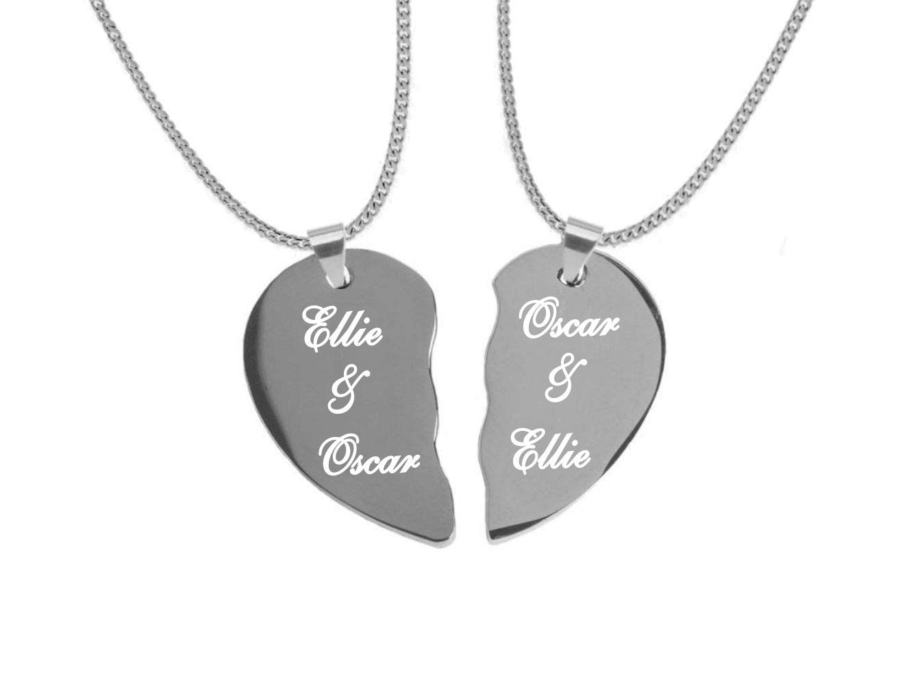 Engraved Couples Extra Small Silver Stainless Steel Split Broken Heart Necklace Set