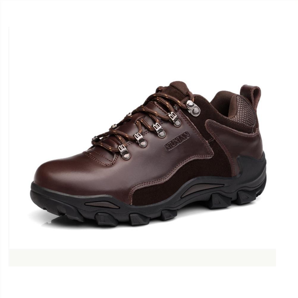 WDGT Herren Draussen Klettern Schuhe Wasserdicht und Rutschfest Original Leder Schnüren Atmungsaktiv Warm Halten Leicht Dauerhaft Stiefel zum Laufen Reisen Trekking Wandern Sport