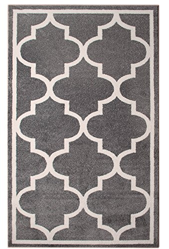 Gray 5 x 8 (5′ x 8′) Area Rug Trellis Morrocan Modern Geometric Wavy Lines Area Rug Living Dining Room Bedroom Resistant Carpet Contemproary Soft Plush Quality For Sale