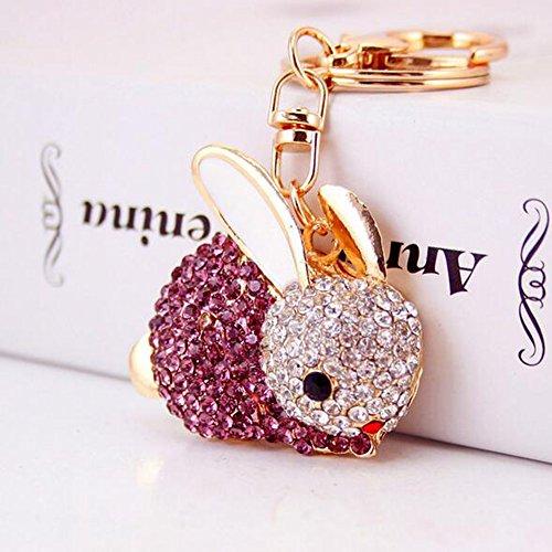 Jzcky Shzrp Cute Rabbit Shape Crystal Rhinestone Keychain Key Chain Sparkling Key Ring Charm Purse Pendant Handbag Bag Decoration Holiday Gift(Purple)