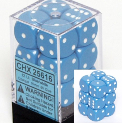 (Chessex Dice d6 Sets: Opaque Light Blue with White - 16mm Six Sided Die (12) Block of Dice)