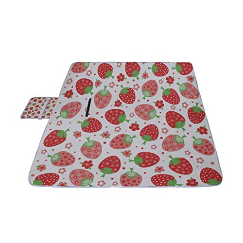 GIRLOS Strawberries Perfect for Wallpapers Picnic Mat 57''(144cm) x79''(200cm) Picnic Blanket Beach Mat with Waterproof for Kids Picnic Beaches and Outdoor Folded Bag ()