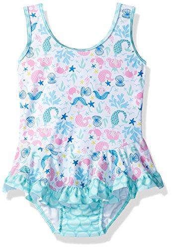 Flap Happy Baby Girls UPF 50+ Stella Infant Ruffle Swim Suit, Mermaid Dreams, 18m ()