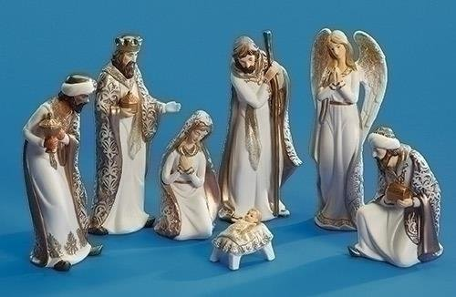 Roman 31291 7 Piece Set of 8.5'' PORCELAIN NATIVITY FIGURES by Roman (Image #1)