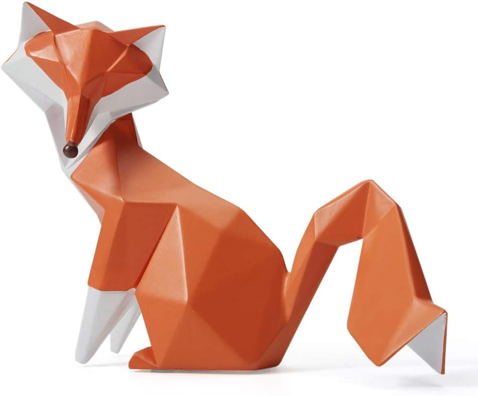 SEINHIJO Sculpture Statue Fox Figurine Geometric Animal Decor for Home Gifts Souvenirs Giftbox Resin 20cmL