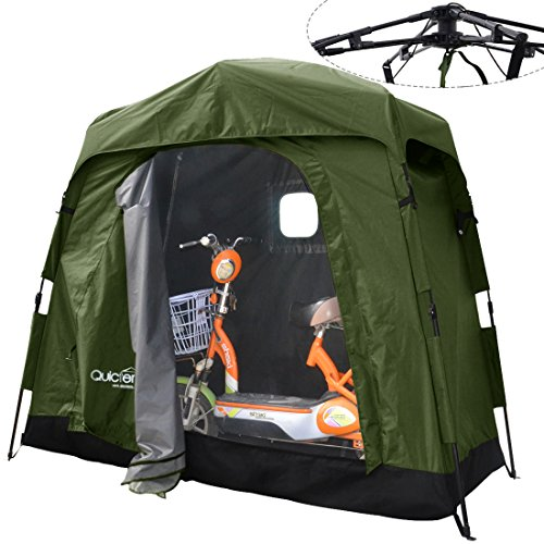 Quictent Pop Up Automatic Rod Bracket Heavy Duty Quick Setup Bike Tent Storage Shed Garage with Waterproof and Anti-UV Protection Hood Outdoor (Tent Shed)