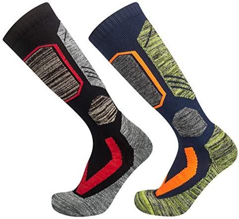 2 Pairs Ski Socks Mens Women, Warm Snowboard Socks for Cold Weather Cozy Winter Socks Outdoor Sports