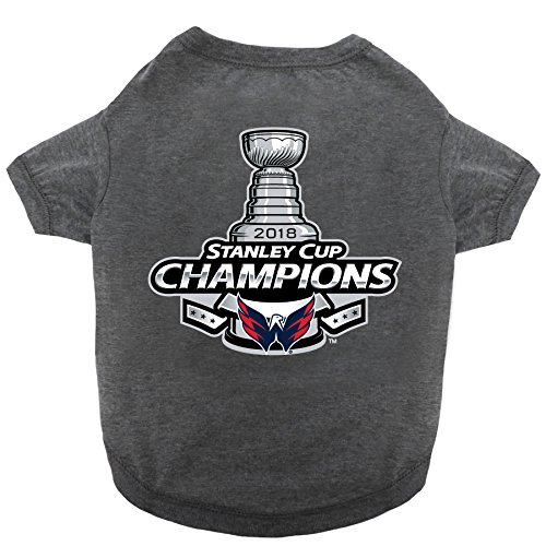 Pets First NHL WASHINGTON CAPITALS Championship Tee Shirt for DOGS & CATS, Medium. - You & your pet can Celebrate the Stanley Cup 2018! - Playoff Tee