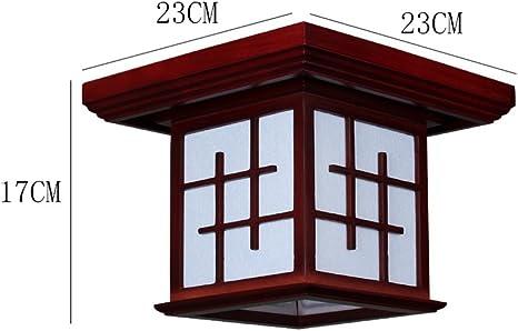 Lámpara de techo de madera cuadrada china moderna, cortina de PVC ...