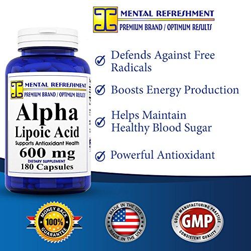 Mental Refreshment Alpha Lipoic Acid 600mg 180caps 1 Bottle Discount