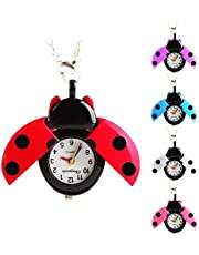 Niome Women Lady Girls Ladybug Beads Wing Open Quartz Chain Necklace Pocket Watch