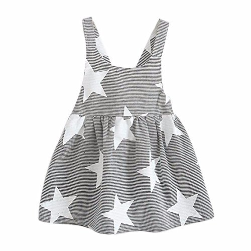 TATGB Toddler Baby Kids Girls Summer Sleeveless Beach Sundress Star Stripe Party Dress Fashion Baby Unisex Sleeveless super cute COTTON Gray 4T -