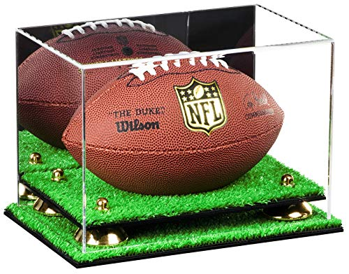 Deluxe Acrylic Mini - Miniature (not Full Size) Football Display Case with Gold Risers, Mirror and Turf Base (A005-GR)