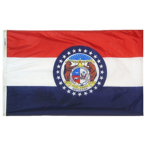 Annin Flagmakers Model 142950 Missouri State Flag Nylon SolarGuard NYL-Glo, 2x3 ft, 100% Made in USA to Official Design Specifications