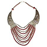 BellaMira Red & Gold Beads Statement Tribal Ethnic Necklace For Women Girls Gift Boxed
