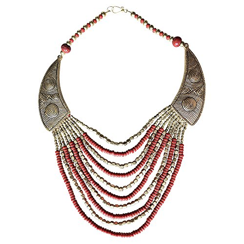BellaMira Red & Gold Beads Statement Tribal Ethnic Necklace For Women Girls Gift Boxed by BellaMira