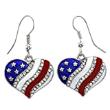 Heart Red White Blue American USA Flag Star Dangle Earrings 4th of July Independence Day Gift