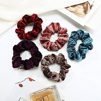 7 PCS Hair Scrunchies Elastic Velvet Scrunchies Hair Bobbles Soft Satin Hair Ties Ponytail Holder for Women Girls Ronoa