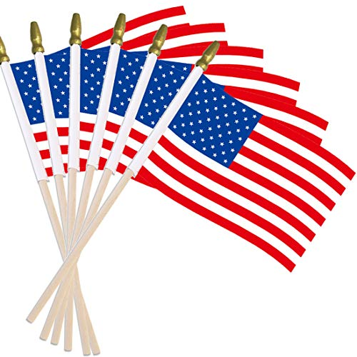 Small American Flag on Stick, 4x6 Inch Hand Held Mini US Flags with Gold Top, Decorations Supplies for 4th of July, Memorial Day, Independence Day, Christmas Tree (24 Pack USA Flags) -