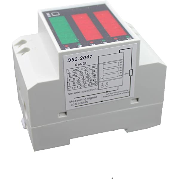 Morza Medidor de energ/ía Voltaje D52-2047 Carril DIN Digital Multifuction vat/ímetro AC200-450V volt/ímetro de CA 0-100A amper/ímetro Actual