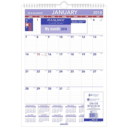 "AT-A-GLANCE Monthly Wall Calendar, January 2018 - December 2018, 12"" x 17"", Wirebound (PM228)"