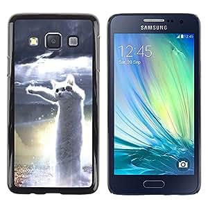 For Samsung Galaxy A3 / SM-A300 , S-type® Dancing Cat White Hero Meme Web - Arte & diseño plástico duro Fundas Cover Cubre Hard Case Cover
