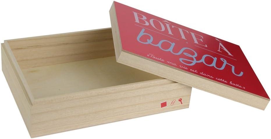 Beige-Rouge 23,7 x 18 x 7 cm LA BOITE A BT6674 Boite en Bois pour Bazar