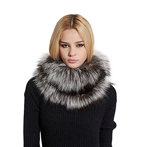 Women's Real Fur Infinity Scarf with Genuine Silver Fox Fur Warm Shawl Scarves (Silver fox fur) - Fur Story